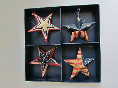 Primitive style Americana Flag STAR Ornaments 4pc NEW Pier 1 Imports NEW
