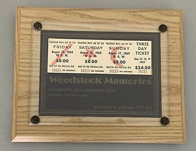 WOODSTOCK 1969 3 Day Ticket Unused Framed VINTAGE ORIGINAL Hendrix Grateful Dead