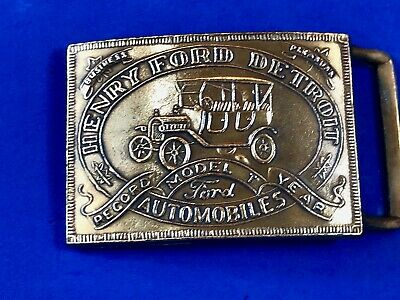 vintage Henry Ford Detroit Brass Tone?  Belt Buckle Model T Record Year