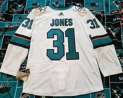 San Jose Sharks Authentic adidas White Away Jersey Martin Jones Size 52 (Large)