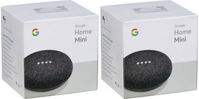 2 x Google Home Mini Smart Assistant Speaker - Charcoal