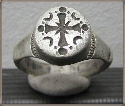 Ancient Silver Byzantine Ring ** CROSS ** RARE **
