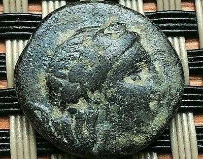 "Aeolis, Aegae 300 Bc Ae17 ""Apollo & Head Of Goat"" Ancient Greek Coin"