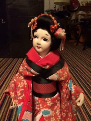 Vintage Japanese Statue Doll on wooden stand. 50's 60's ??? Very nice well kept