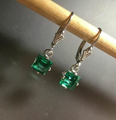 Sterling Silver 6MM Princess Cut Gemstone Dangle Leverback Earrings 1.75~2.40TCW