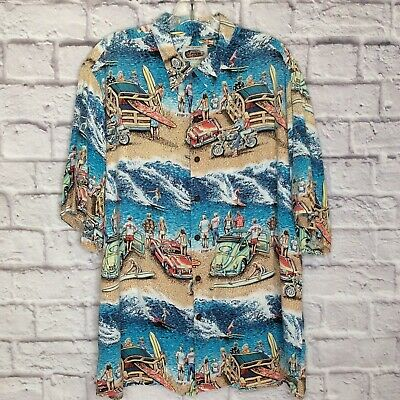 ae5bd80d REYN SPOONER Art Of Eddy Y Hawaiian Shirt Pocket Match Woody Surfing Mens L  VTG