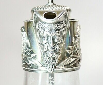 """Vintage Bacchus Silver Plate Etched Crystal Wine Claret Water Pitcher 10"""" High"""