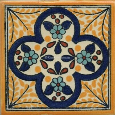 """Mexican Talavera Ceramic Tiles Hand Painted Salermo 10 sq//ft  4¼ x 4¼/"""" or 6x6/"""""""
