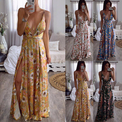 Women Summer Boho Strappy Sexy Deep V-Neck Split Long Maxi Party Beach Dresses
