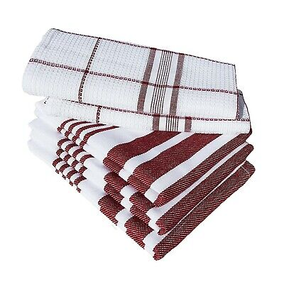 Durable Cotton Kitchen Dish Towels White Red With Stripe Absorbent Microfiber