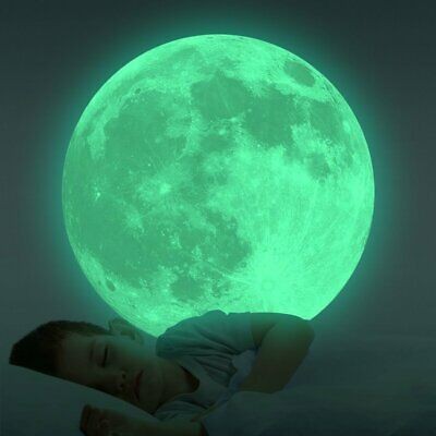 Glow in The Dark Moon Wall Decals Luminous Sticker at Night for Kids' Bedroom