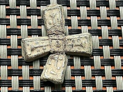 Ancient Byzantine Medieval Lead Cross 800-1100 Bc Very Rare And Scarce