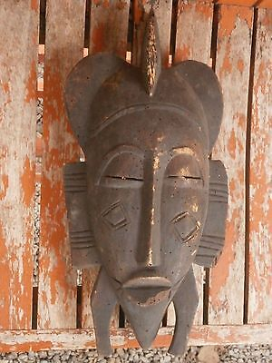 Antique Vintage Wooden Carved African Mask 18Th Century