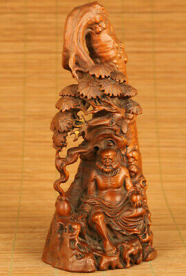 cope antique Chinese old boxwood hand carved tree buddha monk statue collectable