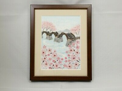 SAKURA and Bridge Beaded Kyoto Premium Decoration Frame from Japan free ship