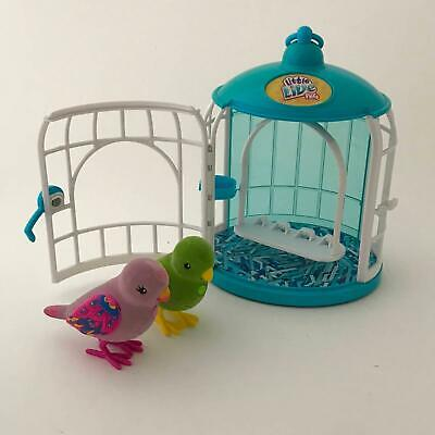 Little Live Pets two birds in cage, parakeet & budgie
