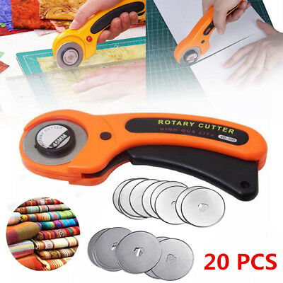 20Pcs Refill Blades + 45mm Rotary Cutter Quilters Sewing Fabric Cutting Tools