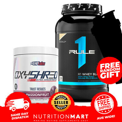 EHPLabs Fat Burner Oxyshred + Protein R1 Whey Blend 2lb + FREE EHP Shaker