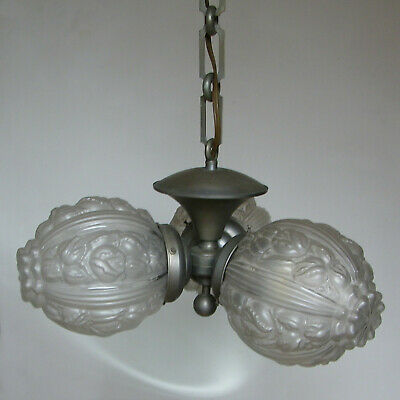 ANTIQUE 30s ART DECO FRENCH PRESSED MOLDED GLASS GLOBES CHANDELIER CEILING LIGHT