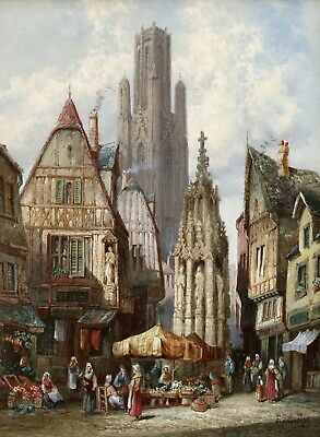 HENRY SCHAFER (1854-1915) SIGNED FINE ENGLISH 1880's OIL CANVAS ROUEN CATHEDRAL