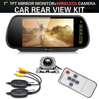 "Wireless 7"" LCD Monitor + Backup Reverse Rear View Parking Night Vision Camera"
