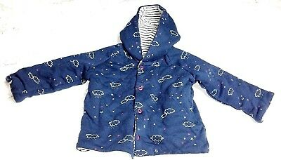 M&S Baby GIRLS 3-6 Months COAT JACKET Hooded WINTER Navy Clouds