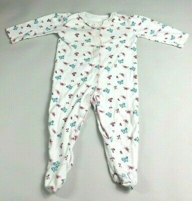 GEORGE Baby GIRLS SLEEPSUIT Age 6-9 Months White Butterflies