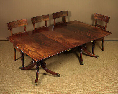 Antique William IV Mahogany Twin Pedestal Extending Dining Table c.1830.