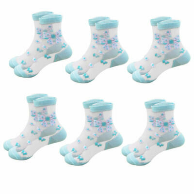 6pairs Children Kids Crystal Socks Ultra-thin Breathable Butterfly Baby Socks zx