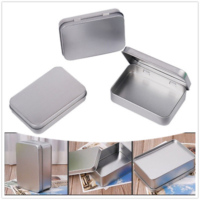 US Durable Metal Tin Silver Storage Box Case Organizer For Money Coin Candy Key