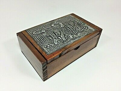 Vintage Jewelry Box Wooden Small Gift Antique Portable Travel Asian Hand Crafted