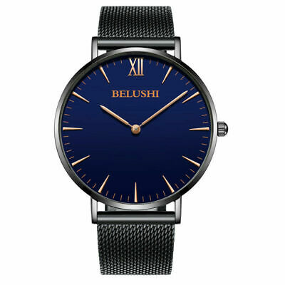 BELUSHI Ultra Men's Military Stainless Steel Quartz Analog Slim Mesh Wrist Watch