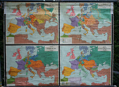 School wall map map Education European Countries Europe 16.Jh. 80 5/16x62 3/16in