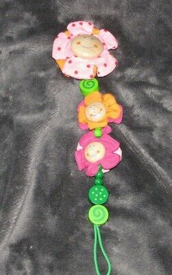 Haba Wood Wooden Pacifier Holder Clip Baby Girl Flowers