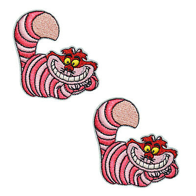 Cheshire Cat Embroidered Iron On Patch Alice in Wonderland Applique Badge 2-PACK