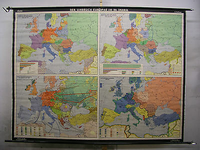 Schulwandkarte Map Europe 20.JH War Tot WWI WWII Ca 1964 235x178 Card