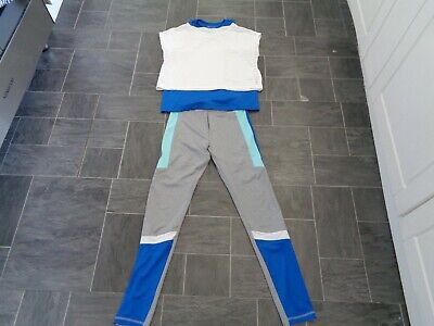 girls 3 piece matching outfit-11-12 yrs- gym type leggings,vest top+crop t-shirt