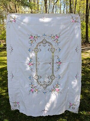 Vintage Hand Made Tablecloth Floral Cross Stitch and Crochet 62 x 47""
