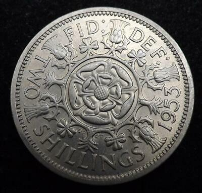 1953 Elizabeth II One Florin / Two Shilling Coin High Grade - Great Britain