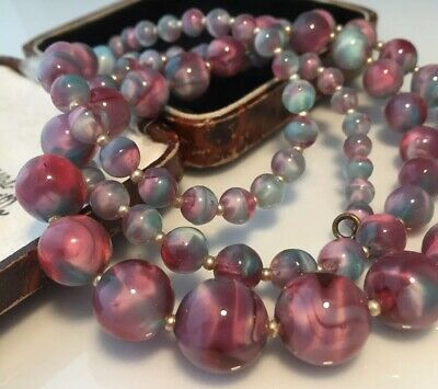 Vintage Art Deco Jewellery super unusual pink & turquoise marbled glass necklace