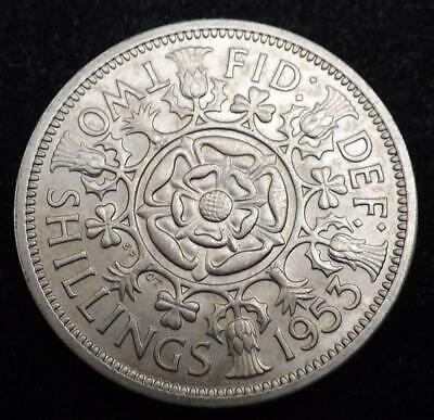 1953 Elizabeth II One Florin / Two Shilling Coin High Grade - Great Britain.