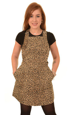 Run And Fly Leopard Animal Print Stretch Twill Retro Pinafore Dress New Tag 8-16