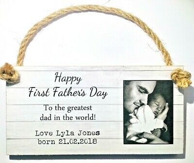 Personalised Any Text + Own Photo Gift Plaque Father Dad Step Stepdad Grandad