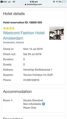 5 Day Amsterdam Holiday For 2 People