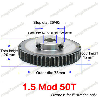 1.5Mod 50T Motor Gear Spur Pinion Gear 45# Steel Outer Dia.78mm Bore 8-25mm