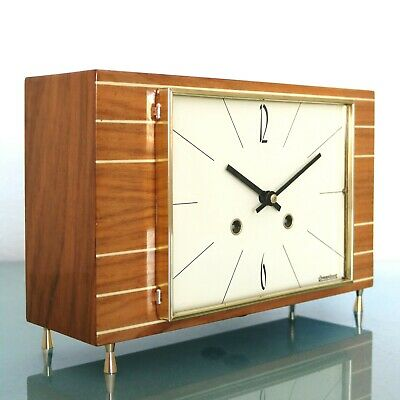 HERMLE Mantel Clock 1964 ICONIC! CUBISM! Design HIGH GLOSS! Vintage CHIME German