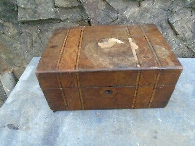 Antique Walnut Sewing Box With Tunbridge Style Banding-For Restoration