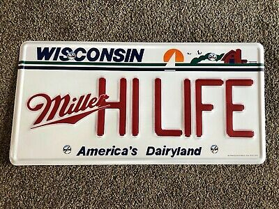 (L@@K) Miller High Life Beer State Of Wisconsin License Plate Tin Sign Man Cave