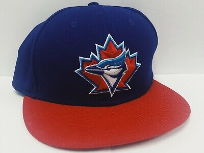 Vintage TORONTO BLUE JAYS New Era 7 3/8 Fitted Hat - 90s Cap Red Maple Leaf VTG