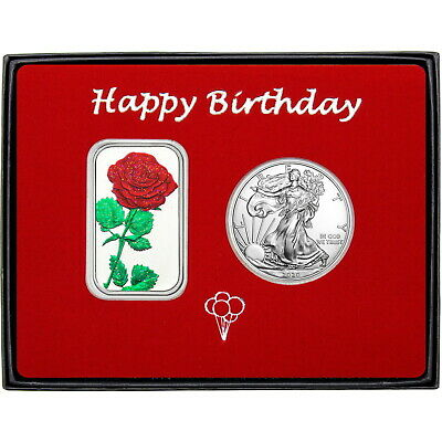 Happy Birthday Red Rose Enameled Silver Bar and Silver American Eagle 2pc Set